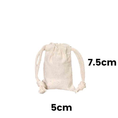 Calico Drawstring Bag Natural Size 8