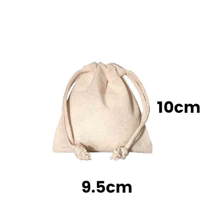 Calico Drawstring Bag Natural Size  9