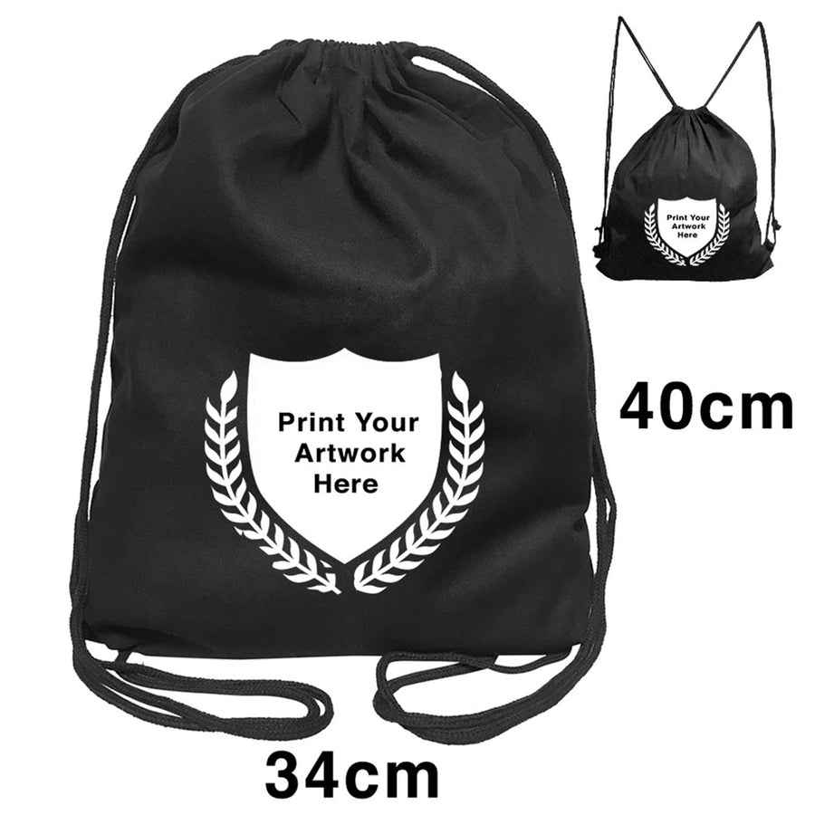 Custom Printing Black Calico Drawstring Backpack Size 1
