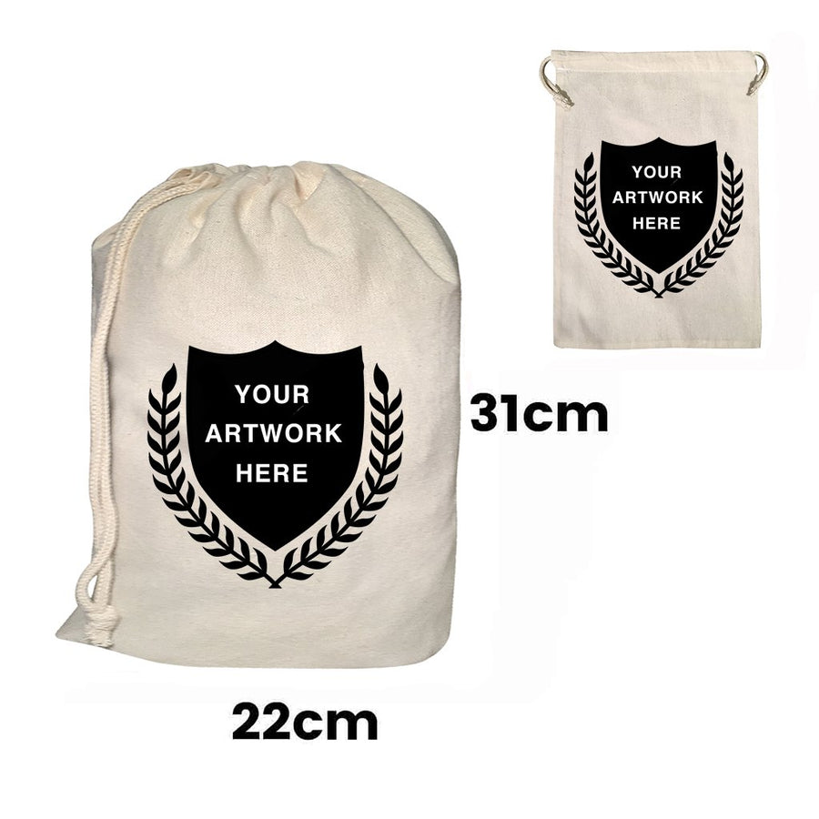 Custom Printed Drawstring Bags Natural Size 2