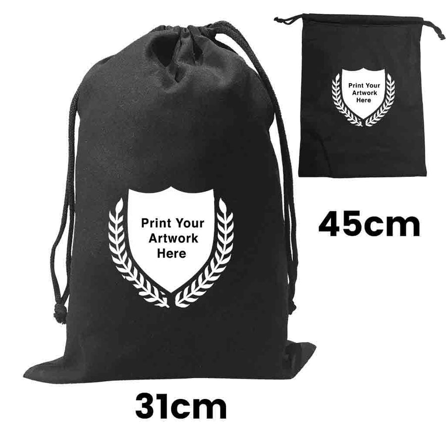 Custom Printing Calico Black Drawstring Bag Size 4