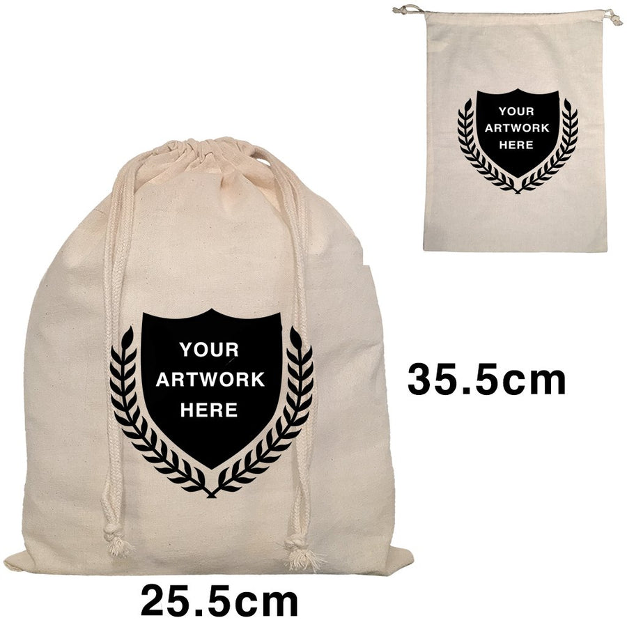 Custom Printed Drawstring Bags Natural Size 3