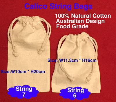 Calico Drawstring Ham & Bread Bags