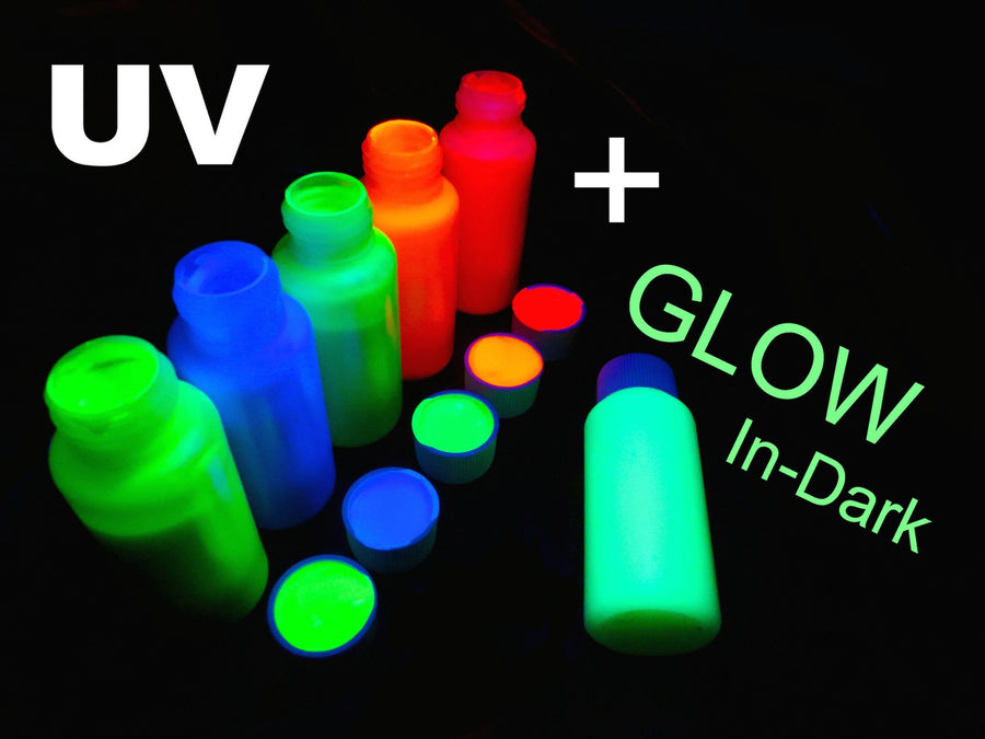 UV Fluoro Blacklight + Glow in Dark 6x 50ml tubes Professional Body and Face Paint Set