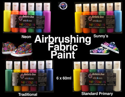 Airbrush Fabric Paint Set  6 x 60ml