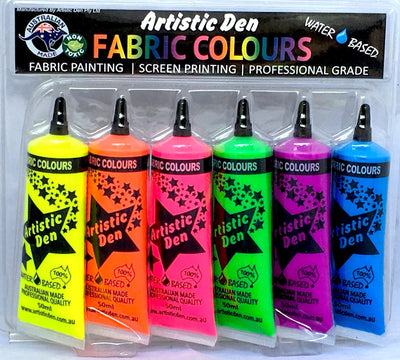 Textile Fluro Screen Printing Ink Set  6 x (15ml-1L)