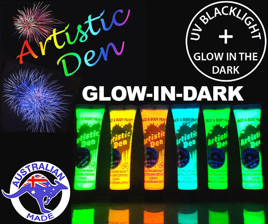 UV GLOW IN THE DARK FACE & BODY PAINT 6 x (15ml-1L)