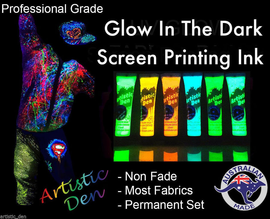 UV Glow In The Dark  Fabric Paint 6 x (15ml-1L)