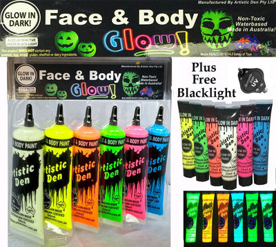 GLOW IN THE DARK Face Paint Set 6 x 50ml + Free Blacklight