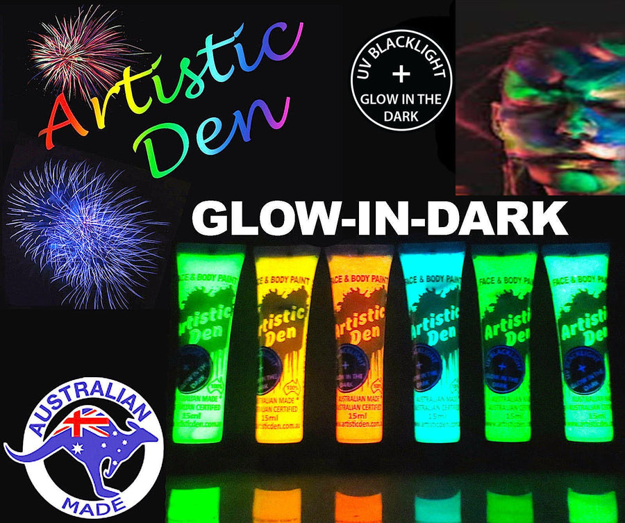 GLOW IN THE DARK Face Paint Set 6 x15ml + Free Uv Black Light