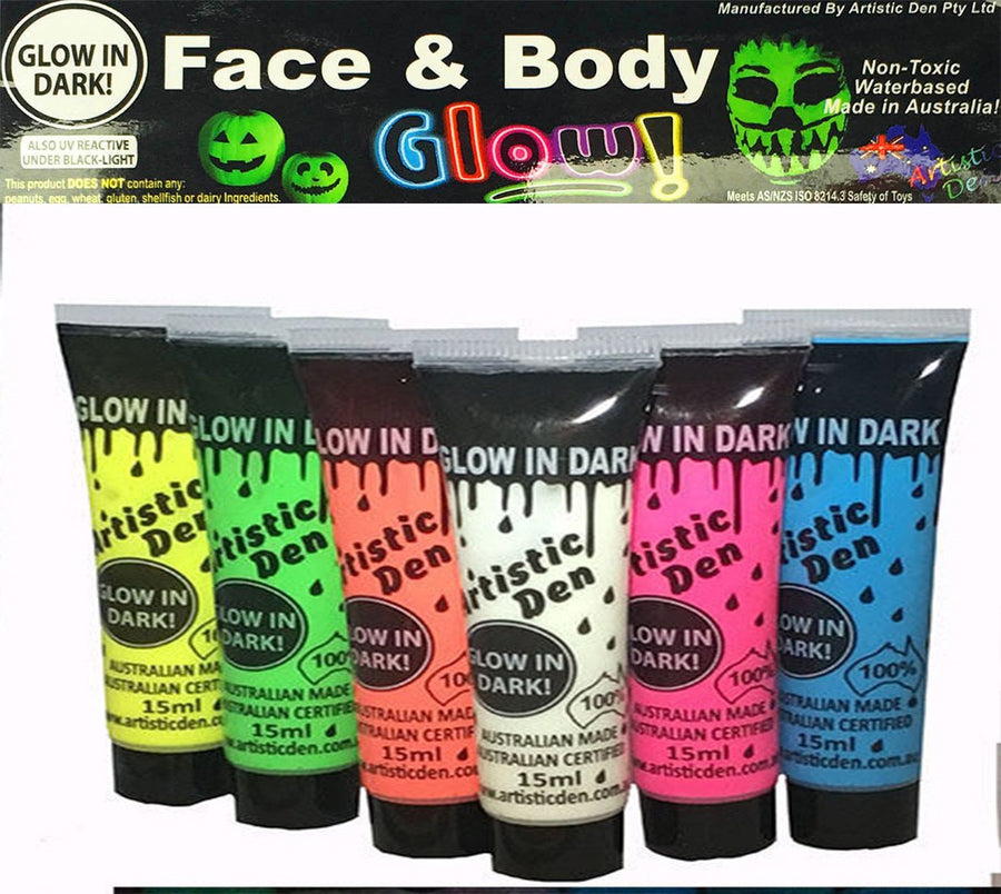 GLOW IN THE DARK Face Paint 6 x15ml tube set
