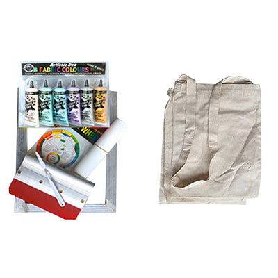 Calico Beginners Metallic Colours Fabric Screen Printing Kit Plus Calico Print Project
