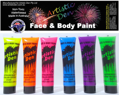 NEON Face Paint Set Colours  6 x (15ml-1L)