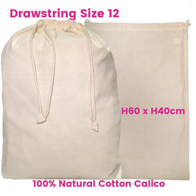 Santa Large Drawstring Calico Bags
