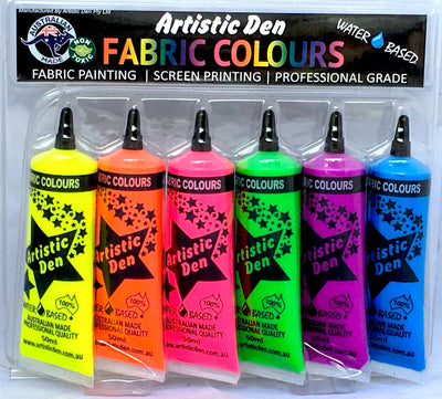 Neon Fluro Fabric Paint  Professional Grade  6 x 50ml