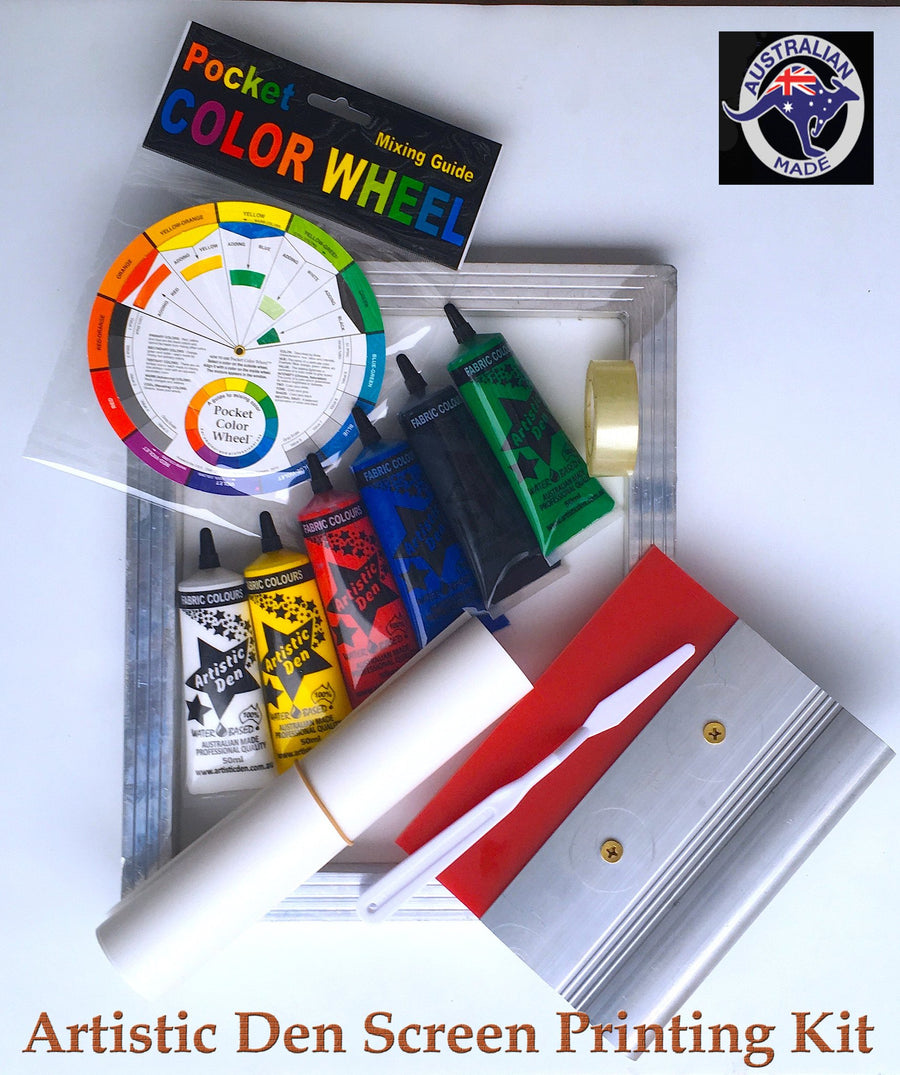 Primary Colours Fabric Screen Printing Kit Plus 3 x Calico Shoulder Bags