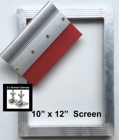 Screen Printing Frame, Squeegee + 2 Screen Clamps