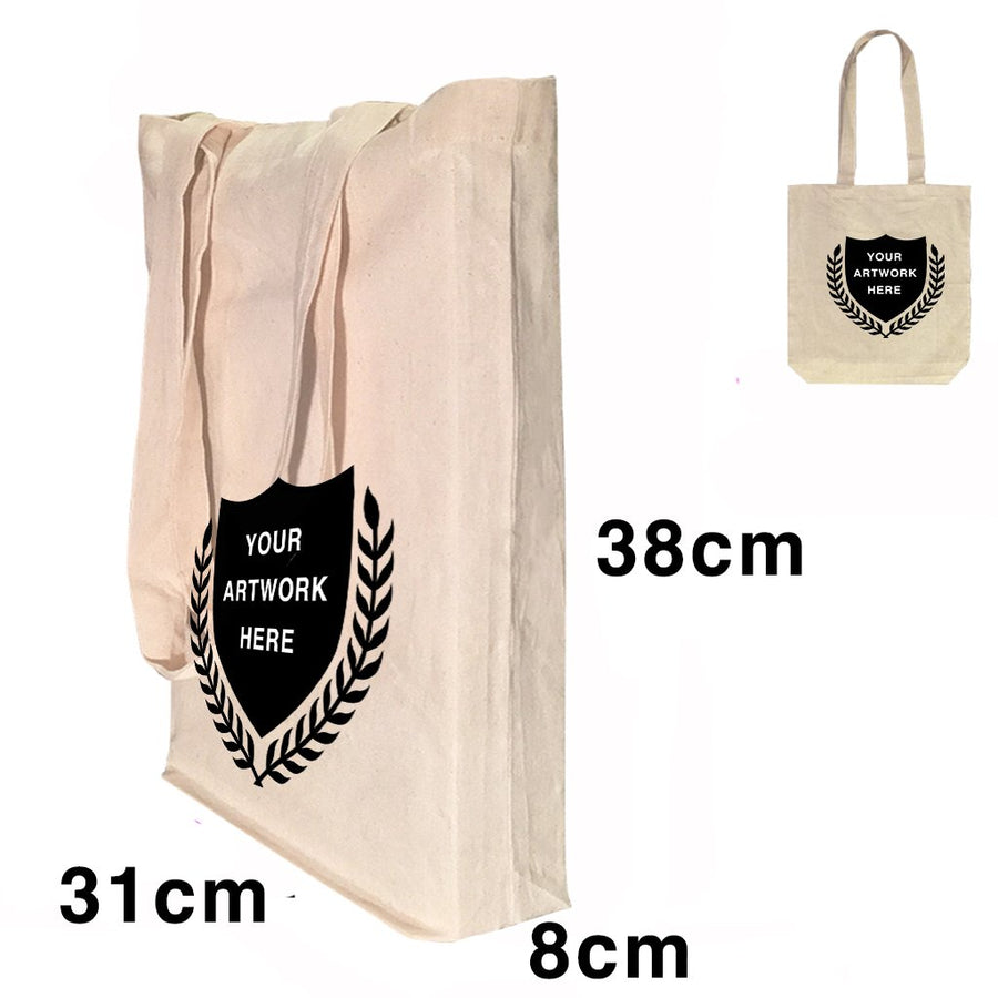 Custom Printing Promotional Calico Conference Shoulder Bag 1 Gusset 8cm Natural