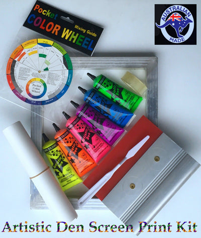 UV Neon Fabric Screen Printing Kit Plus 3 x Calico Shoulder Bags