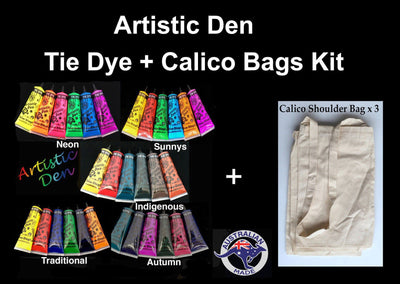 Tie Dye  + 3 Calico Bag Project  6 Colours