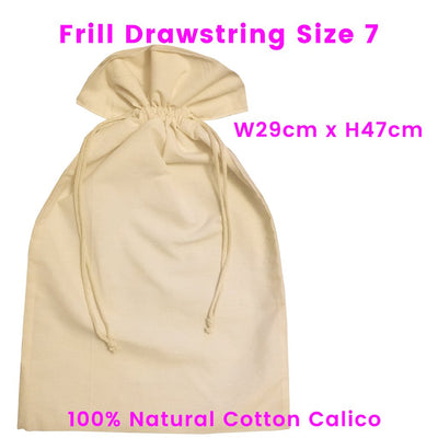 Calico Drawstring Gift Bag Natural Size 7