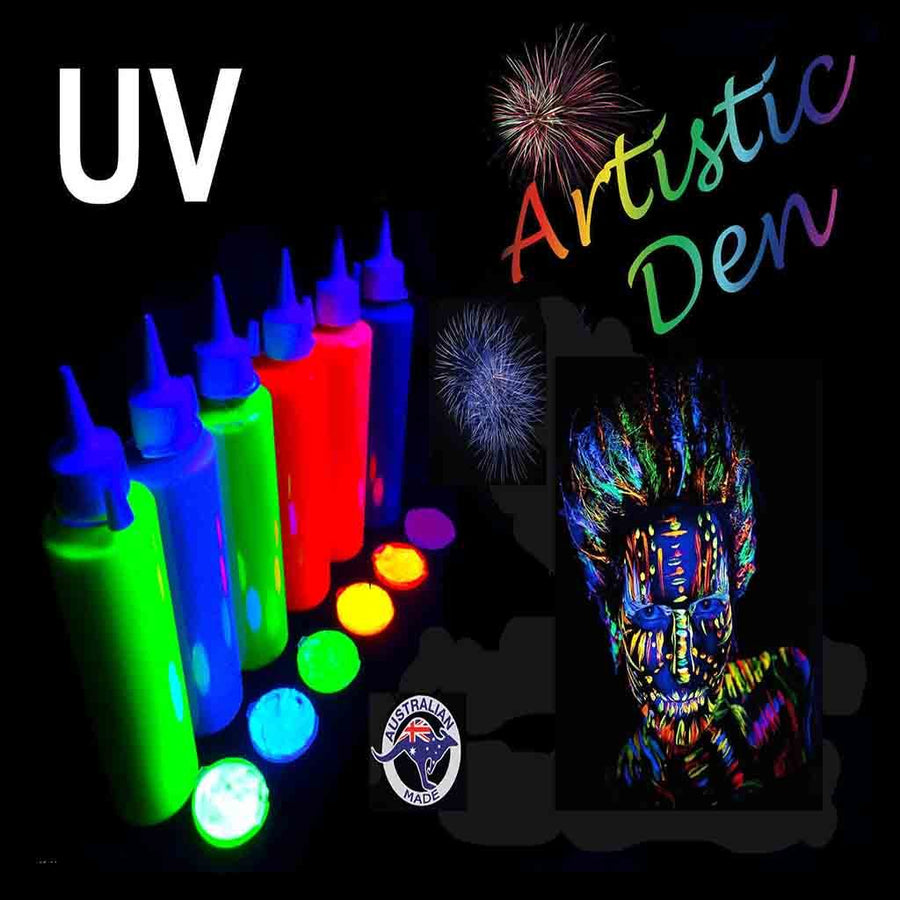 UV Glow Neon Face Body Paint 6x 250mL Fluorescent Blacklight