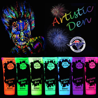 UV Glow Neon Black Light Face Body Paint Set Colours Artistic Den (15ml - 5L+ Quantity)