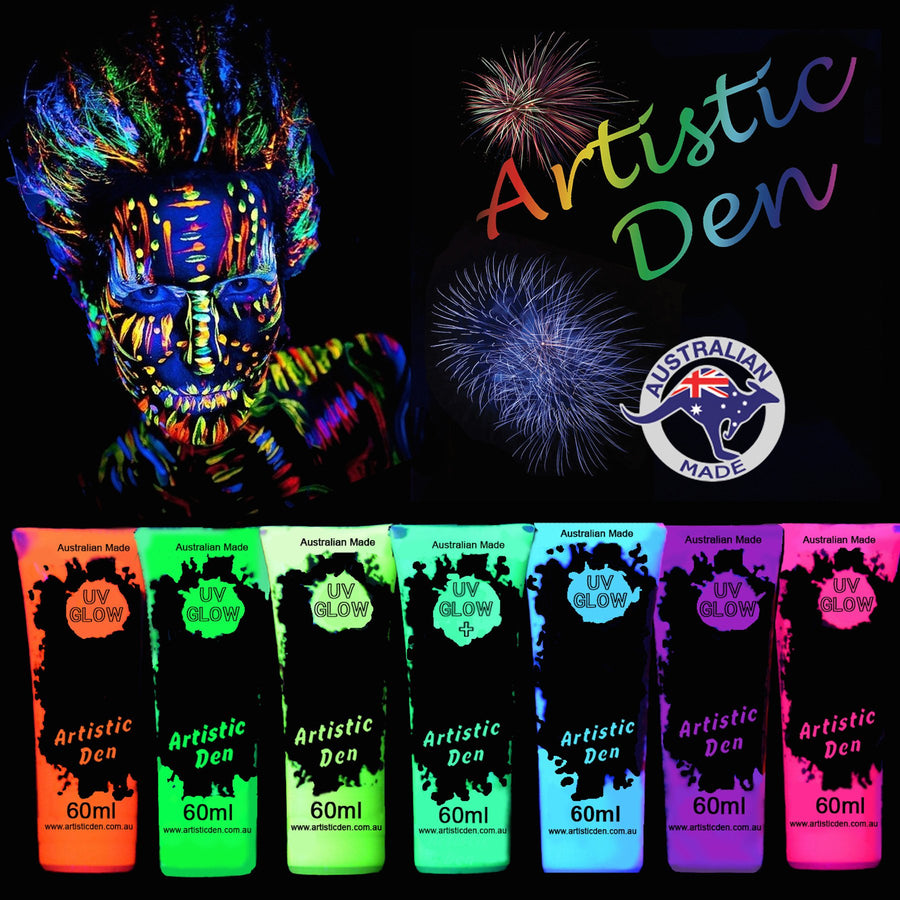 UV Glow Neon Black Light Face Body Paint Set Colours Artistic Den 15ml