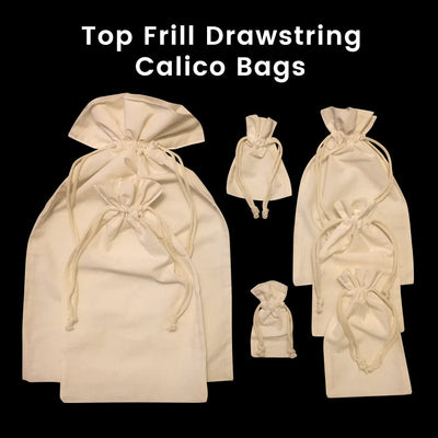 Calico Drawstring Gift Bag Natural Size 1