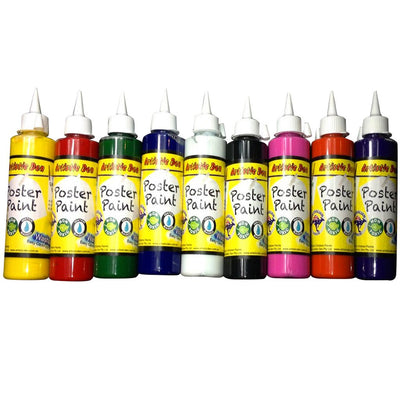 Kids School Poster Paint Set 9 x 250ml +6 brushes + Smock