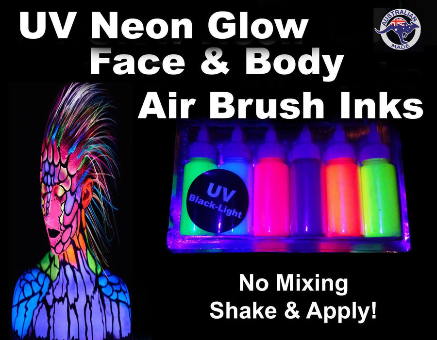 Uv Glow Neon Face & Body Airbrush Paint 6 x 60ml Set