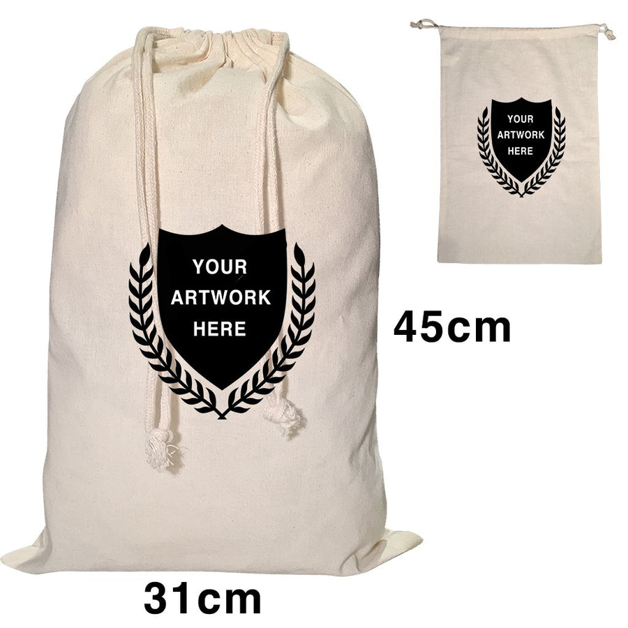 Custom Printing Calico Drawstring Bag Natural Size 4