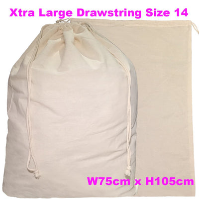 Calico Drawstring Bag Natural Size 14, 145gsm