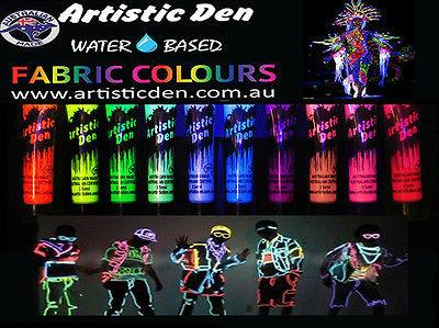 UV Glow Neon Fabric Paint 10 x 15ml Rave Cloth Paint Splatter Paint Artistic Den