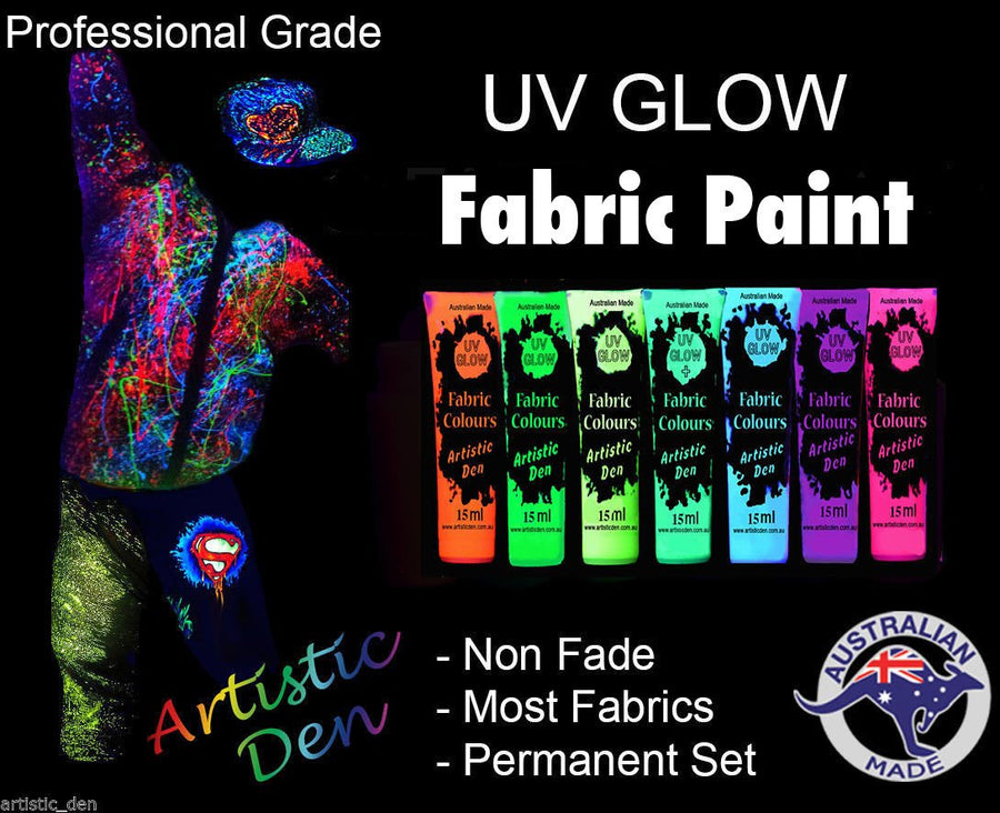 Uv Glow Fabric Paint  Set 7 x 15ml Tubes