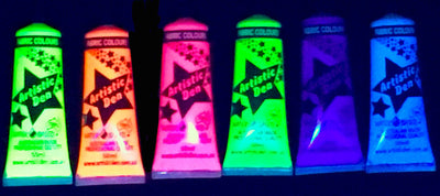 UV Neon Glow Fabric Paint Set 6 x (15ml-1L)