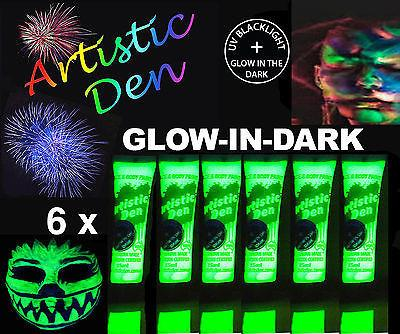 GLOW IN THE DARK Face Paint Bulk 15ml Tube sets