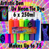 UV Neon Glow Tie Dye Set Professional Grade Tie Dye Kit 6 x 250ml