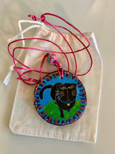 Load image into Gallery viewer, Cat Pendant Black Kitty Blue