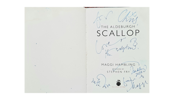 the scallop inside book cover signed page