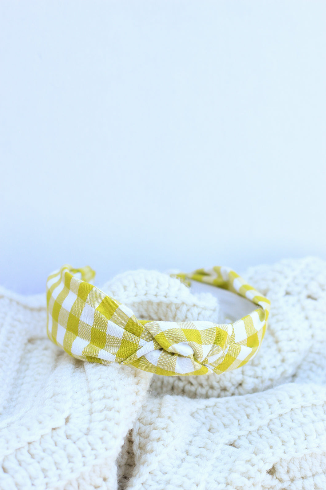 Pickle Gingham Topknot Headband