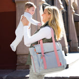 Skip Hop Fit All-Access Diaper Tote in Platinum and Coral