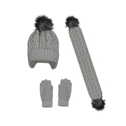 Mayoral Cable knit hat, scarf and gloves set for girl