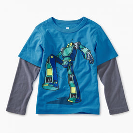 Tea Collection Robot Layered Graphic Tee in SWEDISH BLUE
