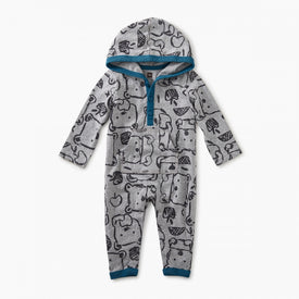 Tea Collection Hungry Bears Hoodie Romper in  Hungry Bears