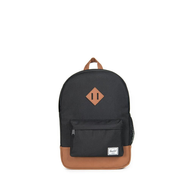 HERSCHEL Heritage Youth Backpack in Black/Tan Synthetic Leather