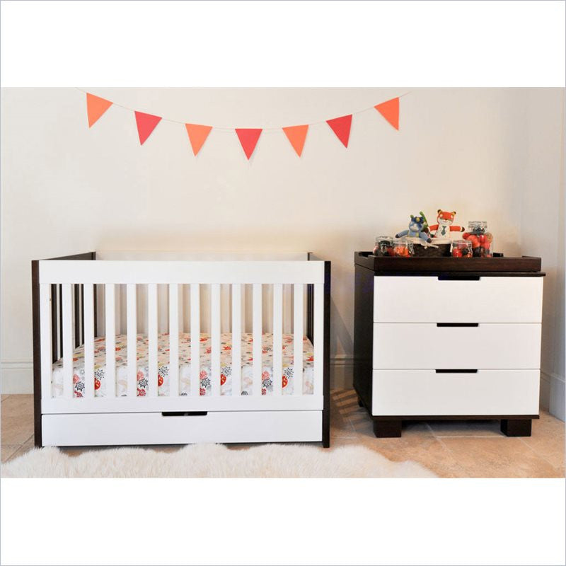 Babyletto Mercer 2 Piece 3 in 1 Convertible Crib Set in Espresso and White