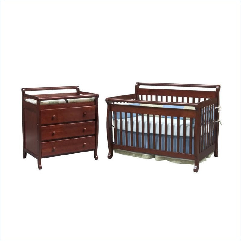 DaVinci Emily 2 Piece 4-in-1 Convertible Baby Crib Set in Cherry