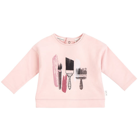 Miles Baby PINK PAINT BRUSHES LONG SLEEVE T-SHIRT