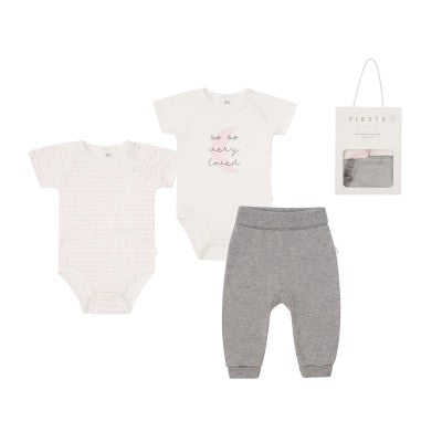 Petit Lem Baby 3Pc Set:  2 S/S Diaper Shirt & Pant Knit